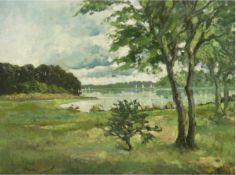"""""""Mecklenburger Seenlandschaft"""", Öl/Lw., unleserl. signiert und datiert 1946 u.l., 60x80cm, Rahmen"""