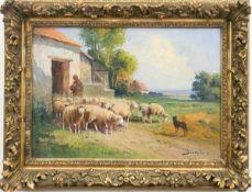 """Grenet de Joigny, Dominique Adolphe (1821- 1885) """"Schäfer mit seiner Herde vor dem Stall"""",Öl/Lw.,"""