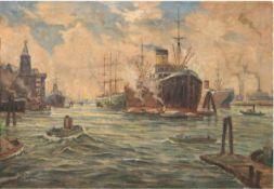 """Richter, Max (1860-?) """"Hamburger Hafen"""", Öl/Lw., sign. u.l. und bez., 70,5x100 cm"""