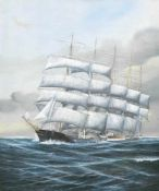 "Hennings, M. (20. Jh.) ""Fünfmast-Vollschiff 'Preussen' unter Segeln"", Öl/Holz, signiertu.r., 60x49"