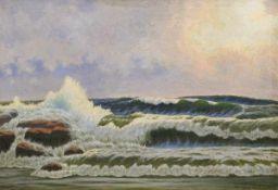 "Charlet, R. (20. Jh.) ""Meeresbrandung"", Öl/Lw., sign. u.r. u. dat, '43, 70x100 cm, Rahmen"
