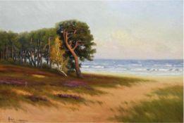 """Neumann, E. (um 1940) """"Ostseeküste"""", Öl/MP., signiert u.l., 50x70 cm, Rahmen"""