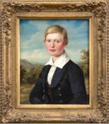 "Maler des frühen 19. Jh. ""Porträt eines jungen Mannes vor Landschaft"", Öl/Lw., Restsign.""(He)"