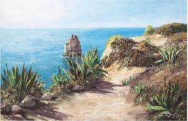 "Schlüter, Lothar (1928) ""Marina Algarve"", Öl/Lw., sign. u.r. und rückseitig bez., 80x120cm,"