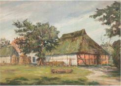 """Moeller-Schlünz, Fritz (1900 Schwaan-1990) """"Mecklenburger Bauerngehöft mit Holzmieten"""",Öl/SH.,"""