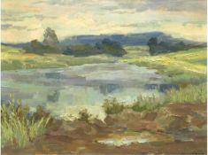 """Böhme, Hans (1905-1982) """" Blick in die weite Seenlandschaft"""", Öl/Mp., sign. u.r., 40x50cm,"""