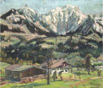 """Hager, Marie (1872 Penzlin-1947 Stargard) """"Berchtesgardener Land"""", Öl/Lw., sign. u.r.,66x74,5 cm,"""