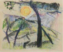 "Akesson, Gerda ( 1909-1992) ""Sonnenaufgang über dem Bach"", Mischtechnik/Papier, sign. u.dat. 1958"
