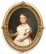 """Diethe, Alfred Richard (1836 Dresden-1919 ebenda) """"Mädchenporträt"""", Öl/Lw., sign. und dat.1868 mit"""