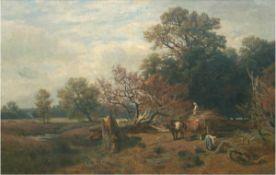 """Thomassin, Desire (1858 Wien- 1933 München) """"Reisigsammlerinnen mit Ochsengespann inWaldlandschaft"""","""