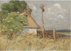 """""""Fischerhütte an der Ostsee"""", Öl/Mp., unleserlich sign. u.r., 25,5x32 cm, Rahmen"""