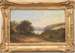 "Landschaftsmaler um 1840 ""Pärchen am See"", Öl/Lw., undeutl. sign. u.r., 31x52 cm, Rahmen"