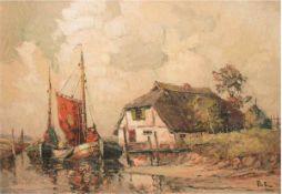 """Priebe, Rudolf (1889 Schulakowa-1964 Hamburg) """"Fischerkate und Fischerboote am Ufer"""",Öl/Hf., sign."""