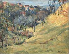 """Weber, Lothar (1925 Burgstädt-1962 Dresden) """"Landschaft bei Meißen"""", Öl/Lw., sign. u. dat.1959 u.r.,"""