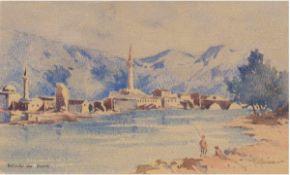 """Kaufmann """"Angler am See mit Blick auf Dorf und Berge"""", Aquarell, um 1930, sign. u.r., undu.l."""
