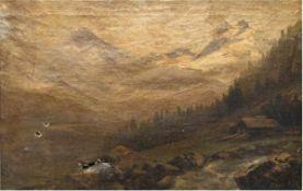 "Lamfried, B. (19. Jh.) ""Gebirgslandschaft"", Öl/Lw., undeutl. sign. u.r., 31x47 cm, Rahmenund"