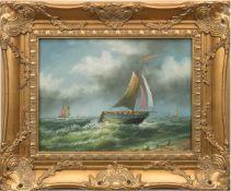 """Maler des 20. Jh. """"Segelboote auf offener See"""", Öl/Lw., unleserl. u.r., 29x39 cm, Rahmen"""