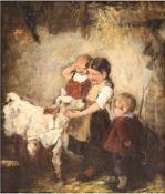 """Moroder-Lusenberg, Josef Theodor 1846- 1939) Zuschreibung """"Kinder mit Kälbchen"""", Öl/Holz,unsigniert,"""