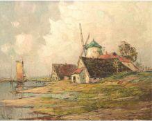 """Priebe, Rudolf (1889 Schulakowa-1964 Hamburg) """"Nordeutsche Landschaft mit Mühle amWasser"""", Öl/SH,"""