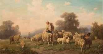 """Reinhardt, Louis (Ludwig) (1849-1870) """"Schäferin mit Schafherde"""", Öl/Lw., sign. u.l.,44x79 cm,"""
