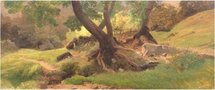 """Ruths, Valentin (1825-1905 Hamburg) """"Waldimpression"""", Öl/MP., unsign. verso Bestätigungder Galerie"""