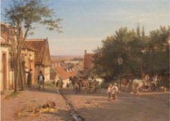 "Rohde, Niels Frederik Martin (1816 Kopenhagen-1886 Frederiksberg) ""Straßenszene"", Öl/Lw.,sign. u."