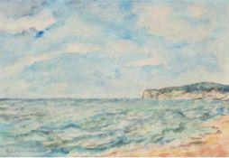 "Lehmann, H. ""Hiddensee"", Aquarell, sign. u.l., 16x28 cm, hinter Glas im Rahmen"