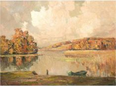 """Priebe, Rudolf (1889 Schulakowa-1964 Hamburg) """"Herbstliche Seenlandschaft"""", Öl/Hf., sign.u.r., 60x80"""