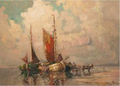 """Priebe, Rudolf (1889 Schulakowa-1964 Hamburg) """"Fischerboote und Pferdekarren am Strand"""",Öl/SH, sign."""