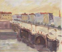 """Sommertag an der Loire"", Aquarell, monogr. u.r. ""FN"" und dat. '42, 23x26 cm, Rahmen"