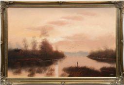 """Landschaftsmaler des 20. Jh. """"Seenlandschaft im Abendlicht"""", Öl/Lw., undeutl. sign. u.r.,51x76 cm,"""
