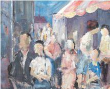 """Maler des 20. Jh. """"Gasse mit zahlreichen Personen"""", Öl/Mp., unsigniert, rücks. """"Rosen inVase"""", 49x59"""