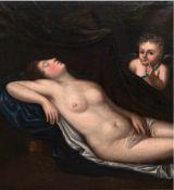 "Altmeister 18. Jh. ""Schafende Venus mit Amor"", Öl/Lw., unsigniert, vertikaler Farbriß"