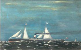 """Marinemaler des 19./20. Jh. """"Dampfsegelschiff auf offener See"""", Öl/Holz, unleserl.signiert u.r.,"""