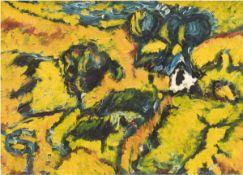 """Teubert, Rainer Erhard (1932 Hartmannsdorf, bei Lübeck ansässig) """"Expressive Landschaft inGelb"""","""