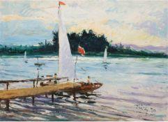 """Witz, Heinrich (1924 Leipzig-1997 Halle) """"Segelboot am Bootssteg"""", Öl/Mp., sign. u. dt.'50 u.r.,"""