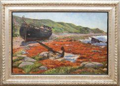"""Klatt, Hans (1876-1936) """"Boot und Anker am Ufer liegend"""" , Öl/Lw., signiert u.r., rücks.alter"""