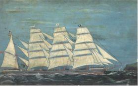"""Marinemaler des 19./20. Jh. """"Viermastsegler vor Küste"""", Öl/Holz, unsigniert, 22x35 cm,hinter Glas im"""