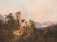 """Landschaftsmaler 19. Jh. """"Reiter vor Burg mit Blick auf den See"""", Öl/Lw., unsign., 47x62cm, Rahmen"""