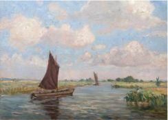 "Wilke, Paul Ernest (1894-1972) ""Torfsegler auf der Wümme"", Öl/Mp., sign. u. undeutl. dat.u.r., 50x70"