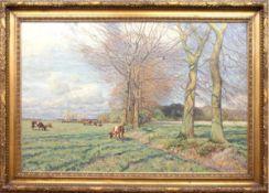 """Fritzel, Wilhelm (1870 Hamburg-1943 Orense/Stade) """"Weite Landschaft mit Kühen auf derWeide"""", Öl/Lw.,"""