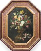 "Altmeister (Italien 17./18. Jh.) ""Blumenarrangement in Kratervase"", Öl/Lw. doubliert,unsigniert,"