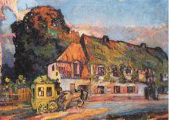 """Tschirch, Egon (1889 Rostock-1948 Rostock) """"Kutsche vor Rostocker Restaurant """"WeißesKreuz"""", um"""