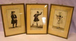3 Stiche, Figurendarstellungen, ca. 11 x 20 cm