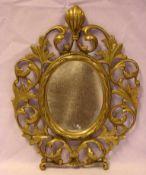 Kleiner Messingrahmen, mit Spiegel, neuzeitlich, ca. 28 x 21 cm