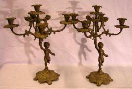Paar Messingleuchter, 5-armig, neuzeitlich, H. ca. 36 cm