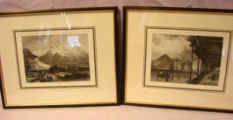 4 Stiche, Berg- und Seenlandschaften, ca. 13 x 18 cm