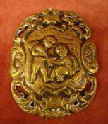 Plakette, rechteckig, mit Puttendartsellung, Messing, ca. 8,5 x 6,5 cm