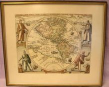 Kupferstich, Landkarte, coloriert, (Amerika)