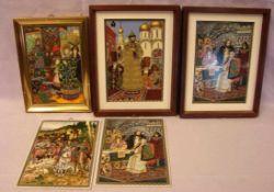 5 Kacheln, bemalt, russische Motive, teils gerahmt, neuzeitlich, ca. 19 x 13 cm